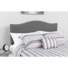 Lexington Upholstered King Size Headboard with Accent Nail Trim in Dark Gray Fabric