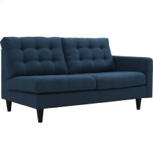 Empress Right-Facing Upholstered Fabric Loveseat in Azure