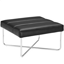 Reach Upholstered Vinyl Ottoman in Black
