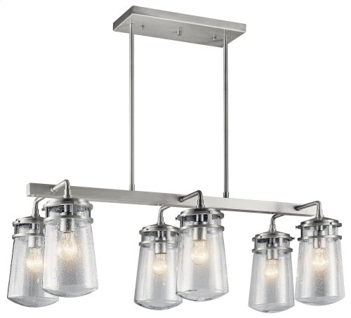 Lyndon 6 Light Linear Chandelier Brushed Aluminum