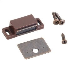 "15 lb Single Magnetic Catch Brown/Bronze Retail Pack. Polybagged with 1 Catch, 1 Strike Plate, 1 - #5 x 5/8"" Flat Head Screw and 2 - #6 x 3/4"" Pan Head Screws"