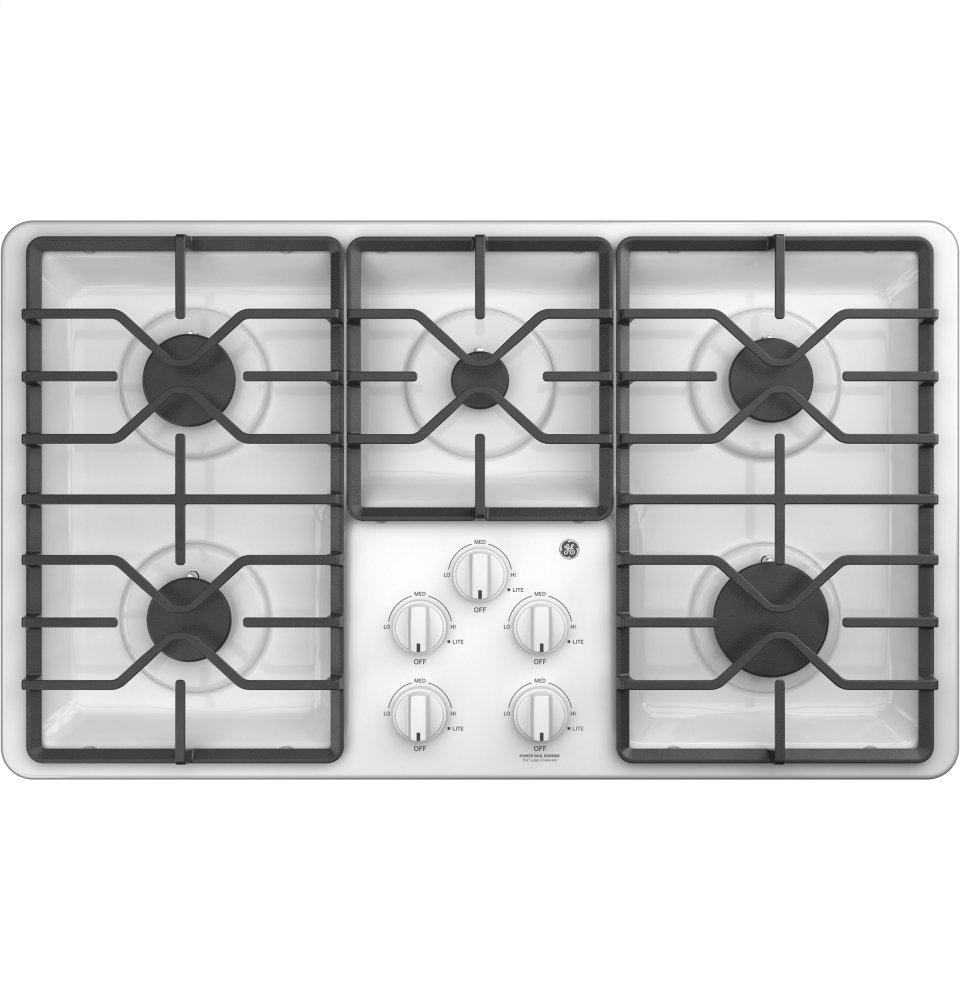 """GE(R) 36"""" Built-In Gas Cooktop  WHITE"""