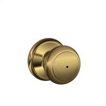 Andover Knob Bed & Bath Lock - Antique Brass