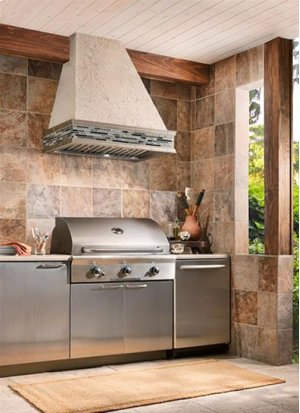 "48"" Custom Hood Liner Insert designed for outdoor cooking in covered lanais"
