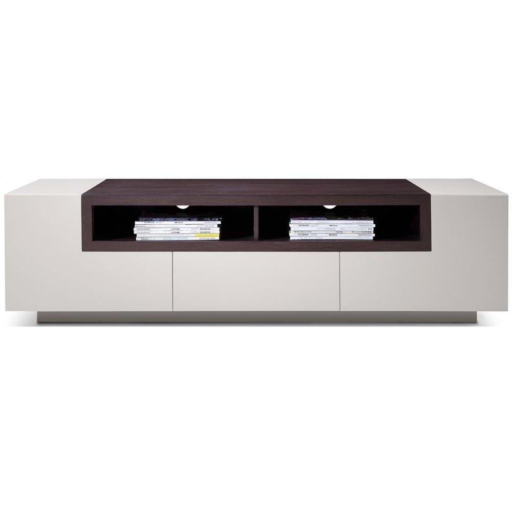 Modrest Gregory Modern Glossy Grey & Brown Oak TV Unit