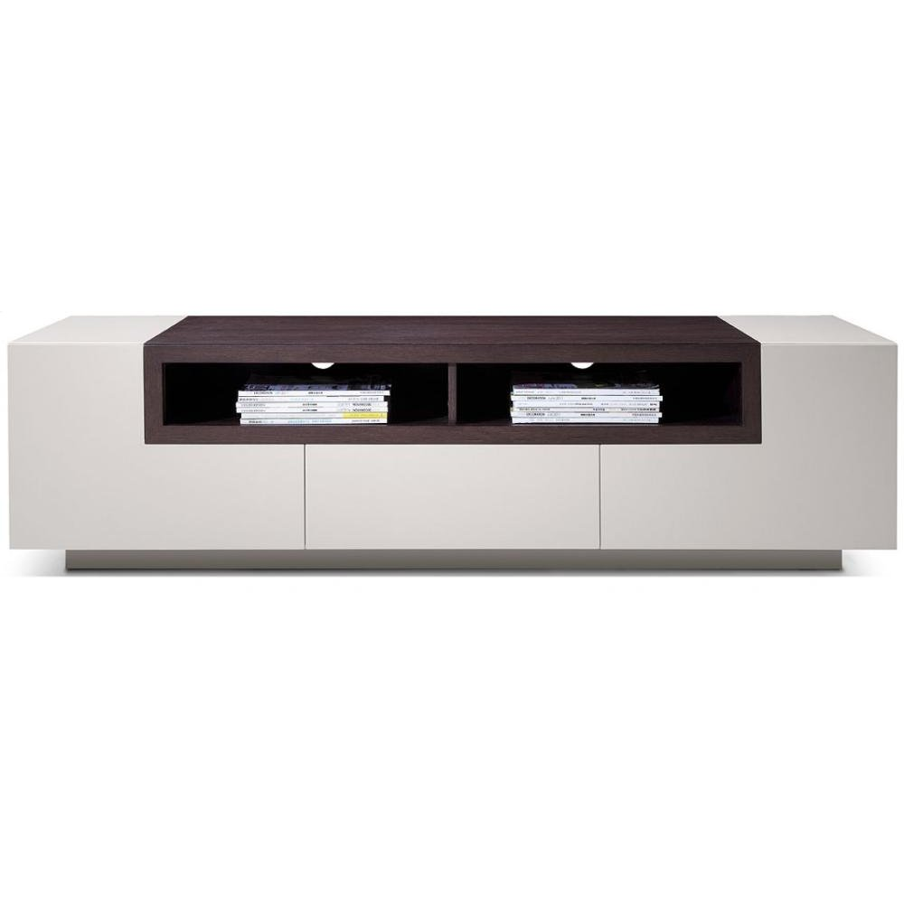 Modrest Gregory Modern Glossy Grey & Brown Oak TV Unit