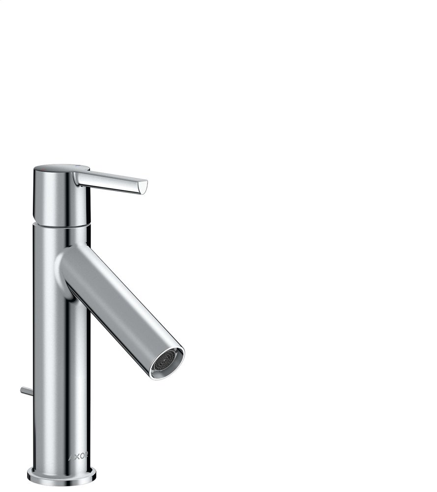 Polished Chrome Single lever basin mixer 100 with lever handle and pop-up waste set