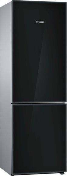 800 Series, Free-standing fridge-freezer-Black Glass Door