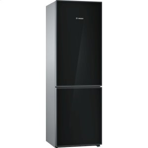 800 Series, Free-standing fridge-freezer-Black Glass Door - BLACK
