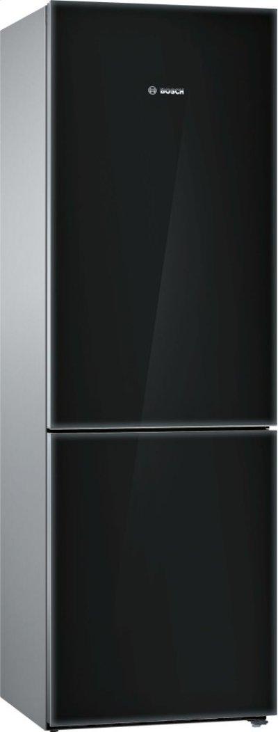 800 Series, Free-standing fridge-freezer-Black Glass Door Product Image
