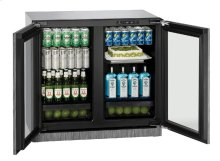 "Modular 3000 Series 36"" Glass Door Refrigerator With Integrated Frame Finish and Double Doors Door Swing"