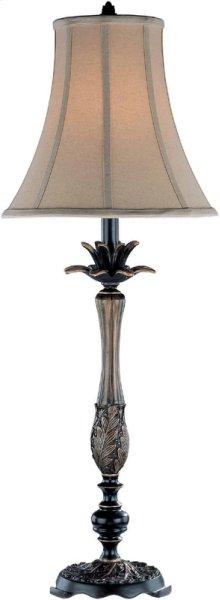 Table Lamp - Dark Bronze/tan Fabric Shade, Type A 100w