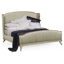 US King Louis XV Country Sage Bed, Upholstered in Duck Egg Silk