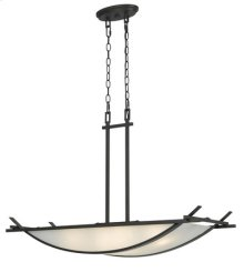 4 Lights Caldwell hand forged iron chandelier with frosted glass shade