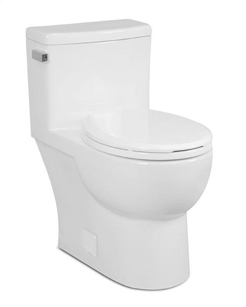 White MALIBU One-Piece Toilet 1.28gpf, Round-Front with Polished Chrome Metal Finish