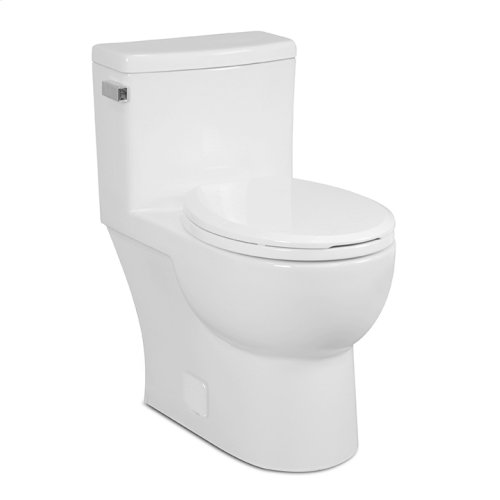 White MALIBU One-Piece Toilet 1.28gpf, Round-Front with Polished Nickel Metal Finish