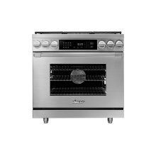 """36"""" Heritage Dual Fuel Pro Range, Silver Stainless Steel, Natural Gas"""