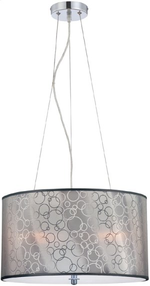 Ceiling Lamp, Chrome/silver 3D Vinyl Shade, E27 A 60wx3