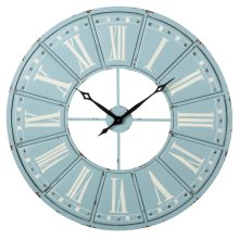 Sky Blue & White Roman Numeral Wall Clock
