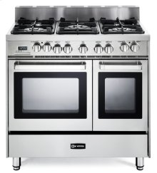 "36"" Dual Fuel Double Oven Range Stainless Steel - 8"" B/G"