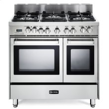 "36"" Dual Fuel Double Oven Range Stainless Steel - 4"" B/G"