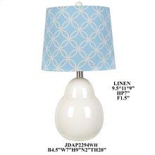 """20""""TH White Ceramic Table Lamp, 2 pcs pk/ 1.84'"""