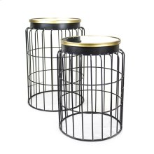 S/2 Mirrored Top Metal Accent Tables, Black