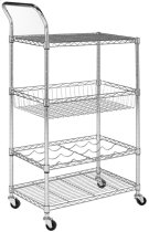 Carmen 4 Tier Chrome Wire Adjustable Cart - Chrome Product Image