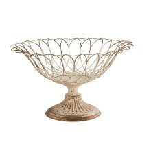 Distressed White Medium Aged Wire Botanical Footed Garden Urn