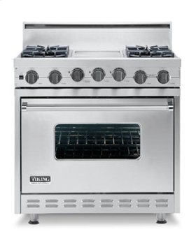 "Metallic Silver 36"" Open Burner Self-Cleaning Range - VGSC (36"" wide range with four burners, 12"" wide char-grill, single oven)"