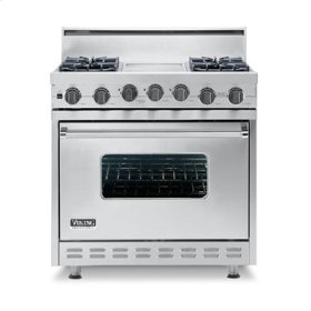 "Stone Gray 36"" Open Burner Self-Cleaning Range - VGSC (36"" wide range with four burners, 12"" wide char-grill, single oven)"