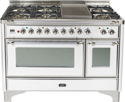 True White with Chrome trim - Majestic 48-inch Range with Griddle