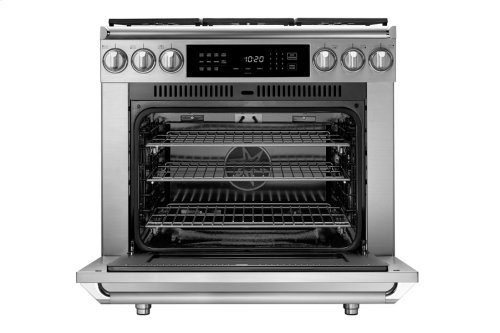 "36"" Heritage Dual Fuel Epicure Range, Silver Stainless Steel, Liquid Propane/High Altitude"