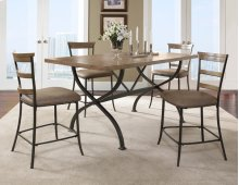Charleston 5pc Counter Height Rectangle Wood Dining with Ladderback Stools