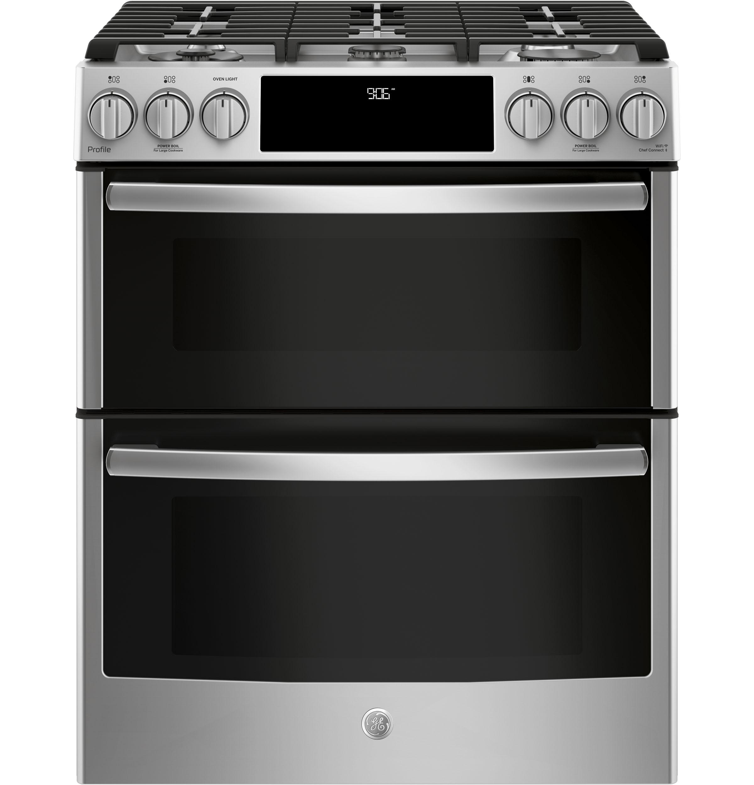 """GE Profile(TM) Series 30"""" Slide-In Front Control Gas Double Oven Convection Range  STAINLESS STEEL"""