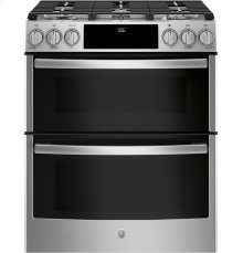 """GE Profile™ Series 30"""" Slide-In Front Control Gas Double Oven Convection Range"""