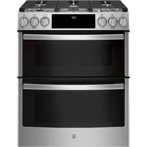 "GE ProfileGE Profile™ Series 30"" Slide-In Front Control Gas Double Oven Convection Range"