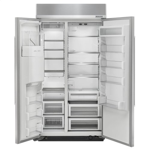 25.0 cu. ft 42-Inch Width Built-In Side by Side Refrigerator with PrintShield Finish - Stainless Steel with PrintShield™ Finish