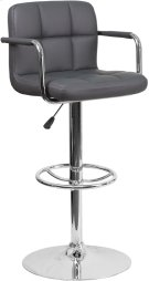 Contemporary Gray Quilted Vinyl Adjustable Height Barstool with Arms and Chrome Base Product Image