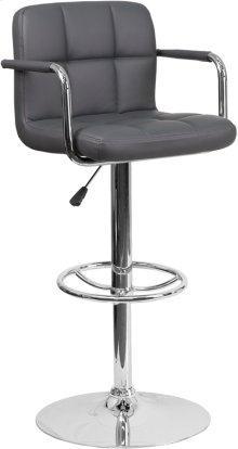 Contemporary Gray Quilted Vinyl Adjustable Height Barstool with Arms and Chrome Base