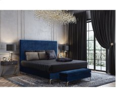 Delilah Navy Textured Velvet Full Upholstered Bed Product Image