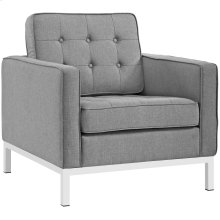 Loft Upholstered Fabric Armchair in Light Gray