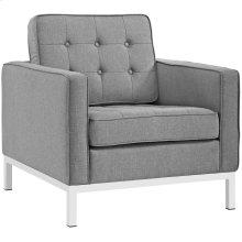 Loft Upholstered Fabric Armchair in Light Gray