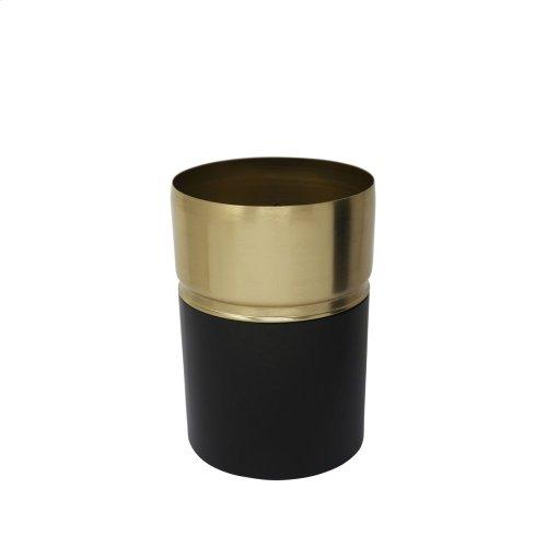 "7.5"" Metal Vase W/gold Rim, Black"