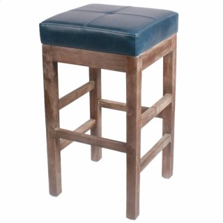 Valencia Bonded Leather Counter Stool Drift Wood Legs, Vintage Blue