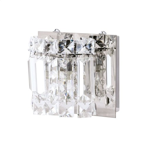 Dutchess 1-Light Vanity Sconce in Chrome with Clear Crystal Strand Shade