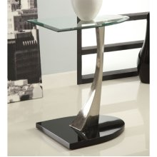 Brushed Chrome, Black Poly & Glass Chairside Table