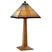 Art Glass Shade, Oak Table Lamp
