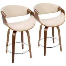 Curvini 24'' Counter Stool - Set Of 2 - Walnut Wood, Cream Fabric, Chrome