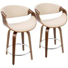 Curvini 24'' Counter Stool - Set Of 2 - Walnut Wood, Cream Fabric, Chrome